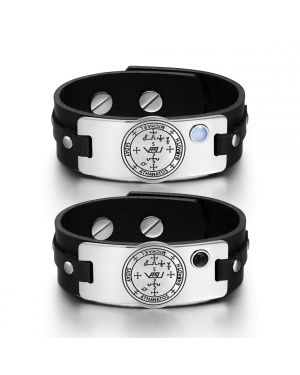 Archangel Michael Sigil Love Couples Blue Simulated Cats Eye Simulated Onyx Black Leather Bracelets