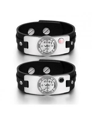 Archangel Michael Sigil Love Couples Pink Simulated Cats Eye Simulated Onyx Black Leather Bracelets