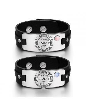 Archangel Michael Sigil Love Couples Pink Blue Simulated Cats Eye Amulet Black Leather Bracelets