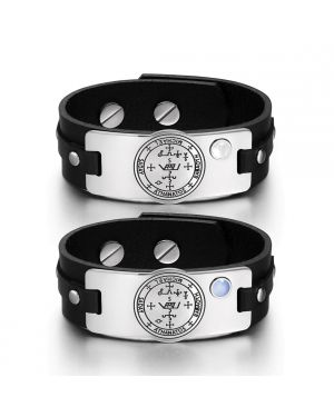 Archangel Michael Sigil Love Couples Blue White Simulated Cats Eye Amulet Black Leather Bracelets