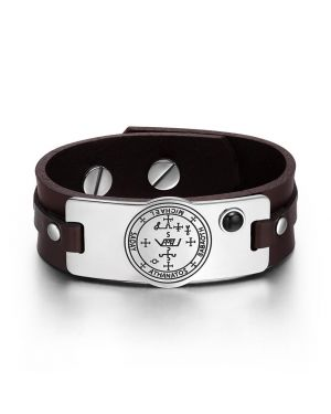 Archangel Michael Sigil Magic Powers Amulet Simulated Black Onyx Adjustable Brown Leather Bracelet