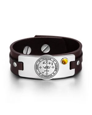 Archangel Michael Sigil Magic Powers Amulet Tiger Eye Gemstone Adjustable Brown Leather Bracelet