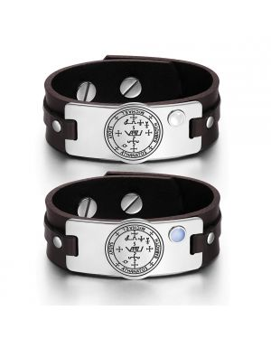 Archangel Michael Sigil Love Couples Blue White Simulated Cats Eye Amulet Brown Leather Bracelets