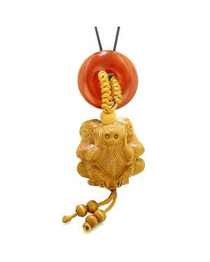 Wise Monkeys No Hear See Talk Car Charm or Home Decor Carnelian Lucky Coin Donut Protection Amulet