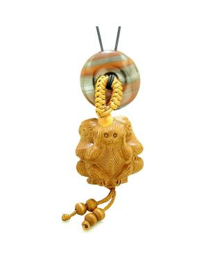 Wise Monkeys No Hear See Talk Car Charm or Home Decor Dragon Eye Iron Lucky Coin Donut Protection Amulet