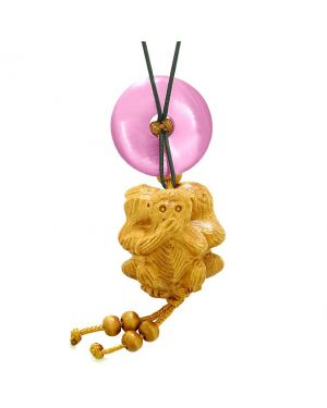 Wise Monkeys No Hear See Talk Car Charm or Home Decor Pink Simulated Cats Eye Lucky Coin Donut Amulet