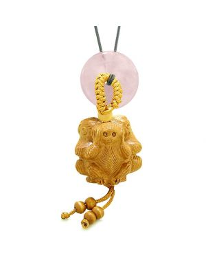 Wise Monkeys No Hear See Talk Car Charm or Home Decor Rose Quartz Lucky Coin Donut Protection Amulet