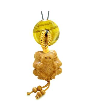 Wise Monkeys No Hear See Talk Car Charm or Home Decor Tiger Eye Lucky Coin Donut Protection Amulet