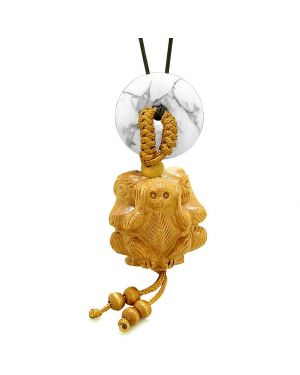 Wise Monkeys No Hear See Talk Car Charm or Home Decor White Howlite Lucky Coin Donut Protection Amulet