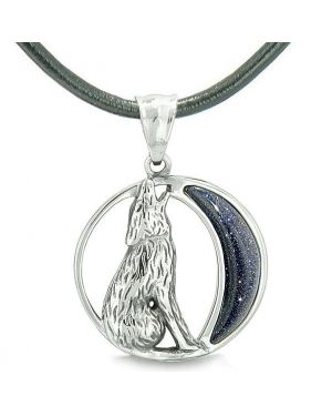 Amulet Howling Wolf and Wild Moon Spiritual Powers Blue Goldstone Pendant on Leather Cord Necklace