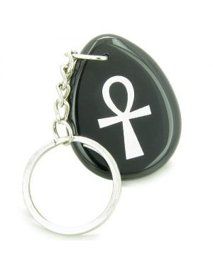 Ankh Egyptian Power of Life Spiritual Amulet Black Onyx Wish Totem Gem Stone Keychain