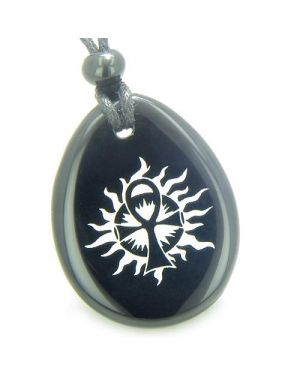 Ankh Egyptian Power of Life Sun Energy Spiritual Amulet Black Onyx Totem Gem Stone Necklace Pendant