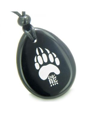 Lucky Bear Paw Kanji Spiritual Amulet Black Onyx Wish Totem Gem Stone Necklace Pendant