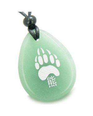 Lucky Bear Paw Kanji Good Luck Amulet Green Aventurine Wish Totem Gem Stone Necklace