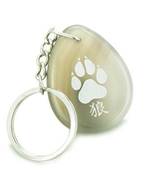 Lucky Wolf Paw Kanji Good Luck Amulet Natural Agate Wish Totem Gem Stone Keychain