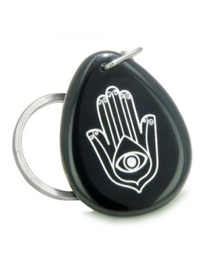 Amulet Magic Hamsa HEvil Eye ReflectiSpiritual Protection Black Onyx Totem Keychain Ring