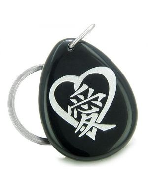 Amulet Heart Love Energy Kanji Magic Symbol Spiritual Powers Black Onyx Totem Keychain Ring