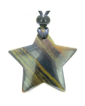 Amulet Magic Five Pointed Super Star Tiger Eye Iron Safety Good Luck Carved Pendant Necklace