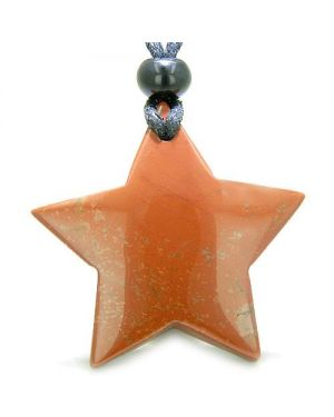 Amulet Magic Five Pointed Super Star Red Jasper Positive Good Luck Carved Pendant Necklace