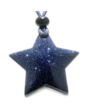 Amulet Magic Five Pointed Super Star Blue Gold Stone Positive Good Luck Carved Pendant Necklace