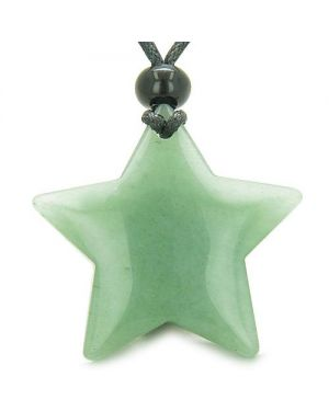 Amulet Magic Five Pointed Super Star Green Aventurine Positive Good Luck Carved Pendant Necklace