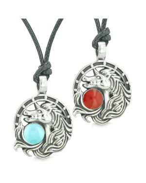 Unicorn Best Friends or Love Couples Amulets Lucky Horse Shoe Baby Blue Red Pendant Necklaces