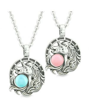 Unicorn Best Friends or Love Couples Amulets Lucky Horse Shoe Baby Blue Baby Pink Pendant Necklaces