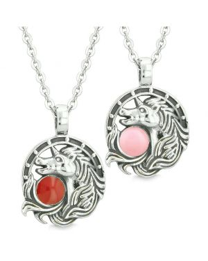 Unicorn Best Friends or Love Couples Amulets Lucky Horse Shoe Red Baby Pink Pendant Necklaces