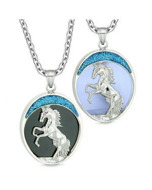 Courage Horse Wild Mustang Couples Best Friends Simulated Onyx Simulated Blue Cats Eye Necklaces