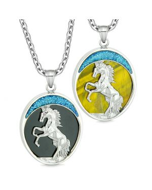 Courage Horse Wild Moon Mustang Love Couples Best Friends Simulated Black Onyx Tiger Eye Necklaces