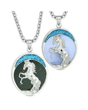 Courage Horse Wild Mustang Love Couples or Best Friends Goldstone Simulated Blue Cats Eye Necklaces
