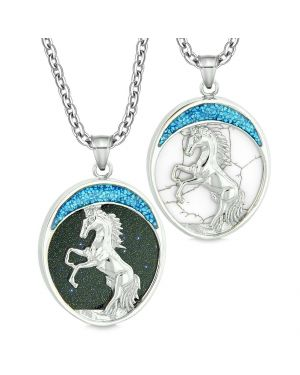Courage Horse Wild Mustang Love Couple Best Friends Goldstone Simulated White Turquoise Necklaces