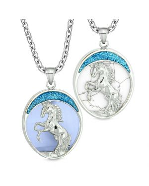 Courage Horse Wild Mustang Couple Best Friends Simulated Blue Cat Eye Simulated Turquoise Necklaces