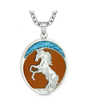 Courage Horse Wild Moon Mustang Magic Protection Powers Amulet Red Jasper Pendant 18 Inch Necklace