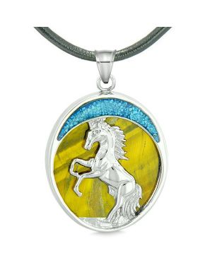 Courage Horse Wild Moon Mustang Magic Protection Powers Amulet Tiger Eye Pendant Leather Necklace