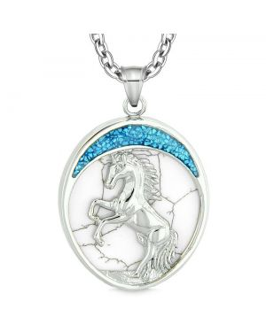 Courage Horse Wild Moon Mustang Protection Amulet Simulated White Turquoise Pendant Necklace