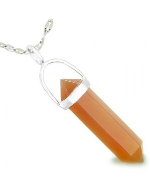 "Amulet 925 Sterling Silver Carnelian Crystal Point Natural Energy Healing Powers Pendant on 22"" Steel Necklace"