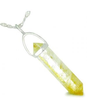 Amulet 925 Sterling Silver Citrine Crystal Point Natural Energy Good Luck Powers Pendant Necklace