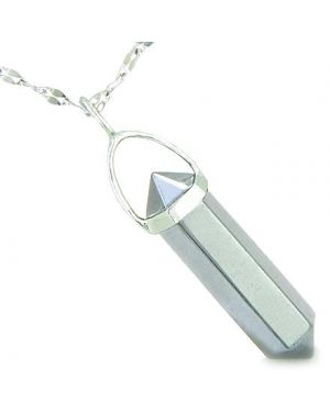 "Amulet 925 Sterling Silver Hematite Crystal Point Natural Energy Evil Eye Protection Powers Pendant on 18"" Steel Necklace"