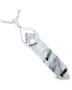 Amulet 925 Sterling Silver Black Rutilated Quartz Crystal Point Healing Powers Pendant Necklace