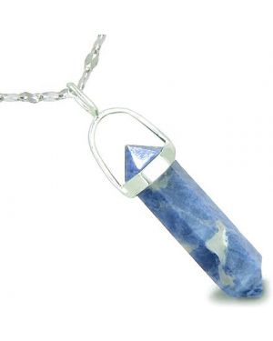 "Amulet 925 Sterling Silver Sodalite Crystal Point Natural Energy Good Luck Powers Pendant on 18"" Steel Necklace"