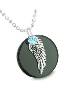 Amulet Angel Wing Onyx MedalliBlue Swarovski Elements Heart Lucky Charm Feather Pendant Necklace
