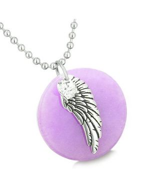 Amulet Angel Wing Purple Jade Medallion White Swarovski Elements Heart Feather Pendant Necklace