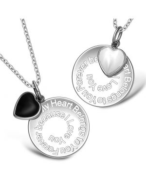 My Heart Belongs to You Forever Inspirational Heart Love Couples Set Necklaces