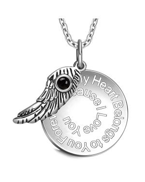 My Heart Belongs to You Forever Inspirational Pendant Angel Wing Amulet Necklace