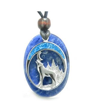Howling Wolf and Moon Amulet Good Luck Powers Sodalite Gemstone Pendant on Adjustable Cord Necklace