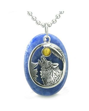Amulet Courage Howling Wolf Moon Charm in Sodalite Tiger Eye Eye Gemstones Pendant Necklace