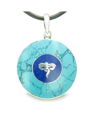 Amulet Ancient Tibetan Buddha All Seeing Eye Magic Turquoise Lapis Lazuli Circle Pendant Necklace