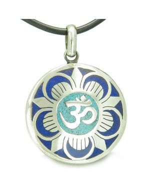 Amulet Ancient OM and Magic Lotus Tibetan Lapis Lazuli Turquoise Medallion Pendant Necklace