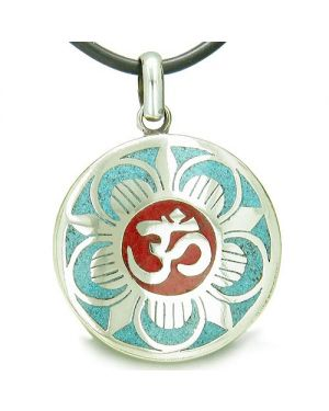 Amulet Ancient OM and Magic Lotus Tibetan Multicolor Turquoise Gemstone Medallion Pendant Necklace